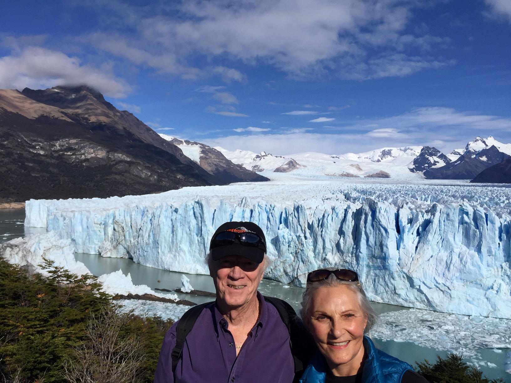 Nancy and I in front of the Perito Marino glacier outside El Calafate, Argentina