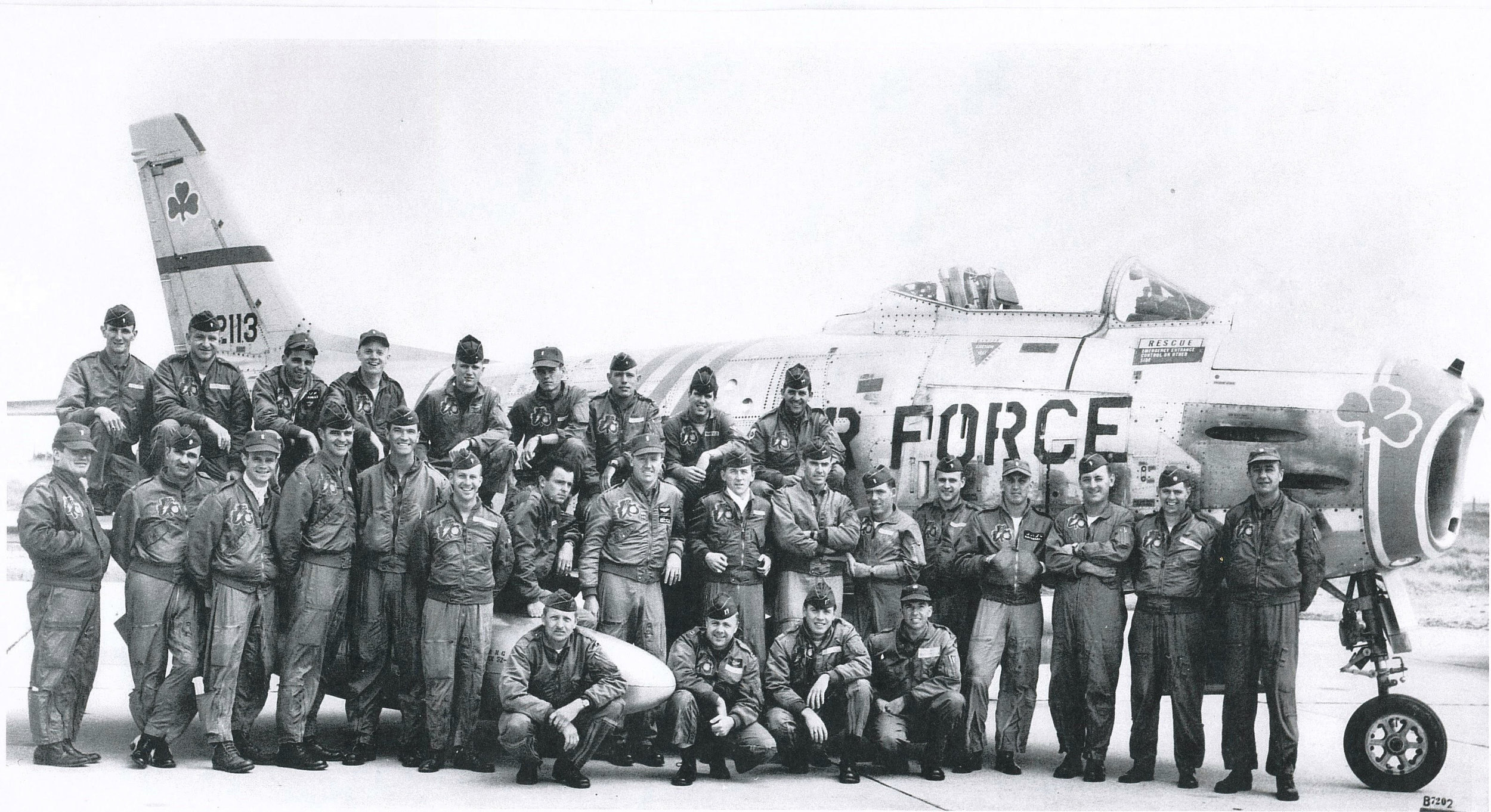 Here's a pic of my old 101 Tac Fighter Squadron from the Mass Air Guard back in 1961-2. We were activated by Pres JFK when Mr. K put up the Berlin Wall... and deployed to Phalsbourg Air Base in eastern France. Our F-86H (best fighter plane... ever!) and our flight jackets display the shamrock... and we were widely known (mainly by us) as The Irish Air Force. I'm 5th from the left on the upper row. Many, many memories!!
