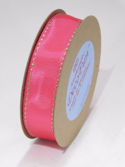 Hot Pink & Parsley Green Ribbon, Woven Stitched Edge Grosgrain Ribbon, Nature's Own brand, Made in England 1 inch width (25 mm) 15 ft roll.jpg