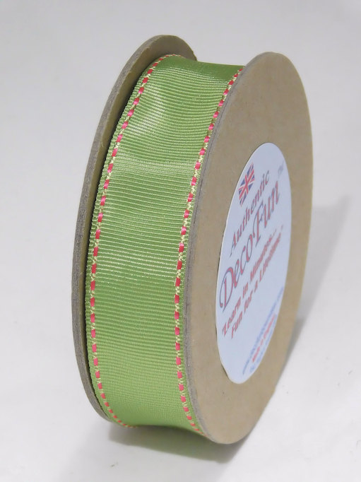 Parsley Green & Hot Pink Woven Stitched Edge Double Grosgrain Ribbon, Made in England 1 width (25 mm) 15 ft roll.jpg