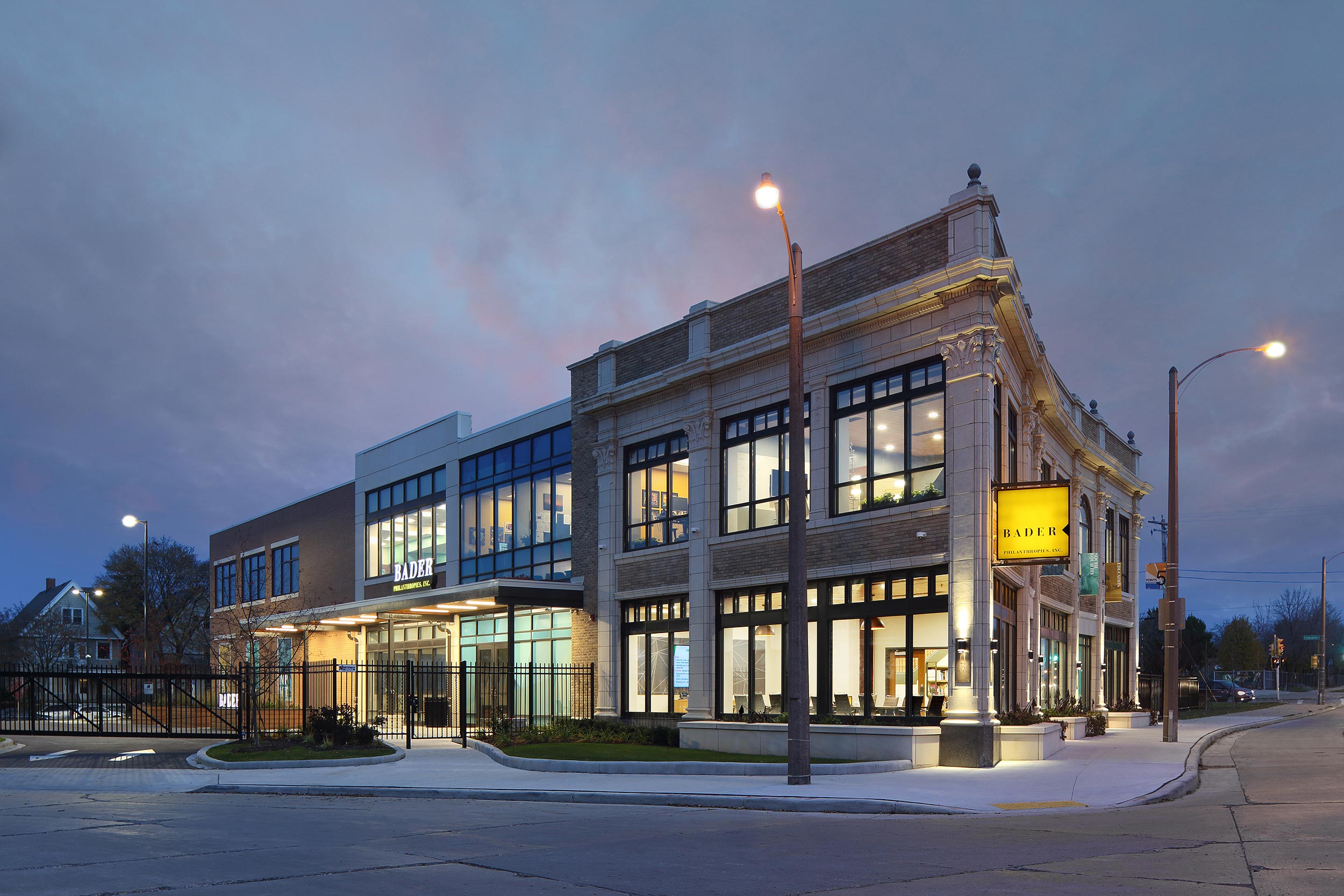 Commercial exterior photograph at dusk