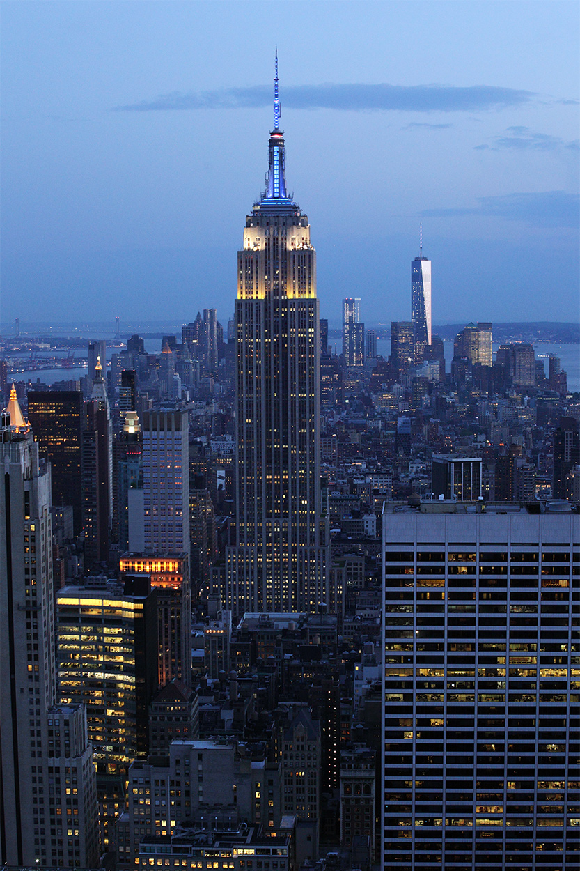 New York city scape at dusk; Empire State Building