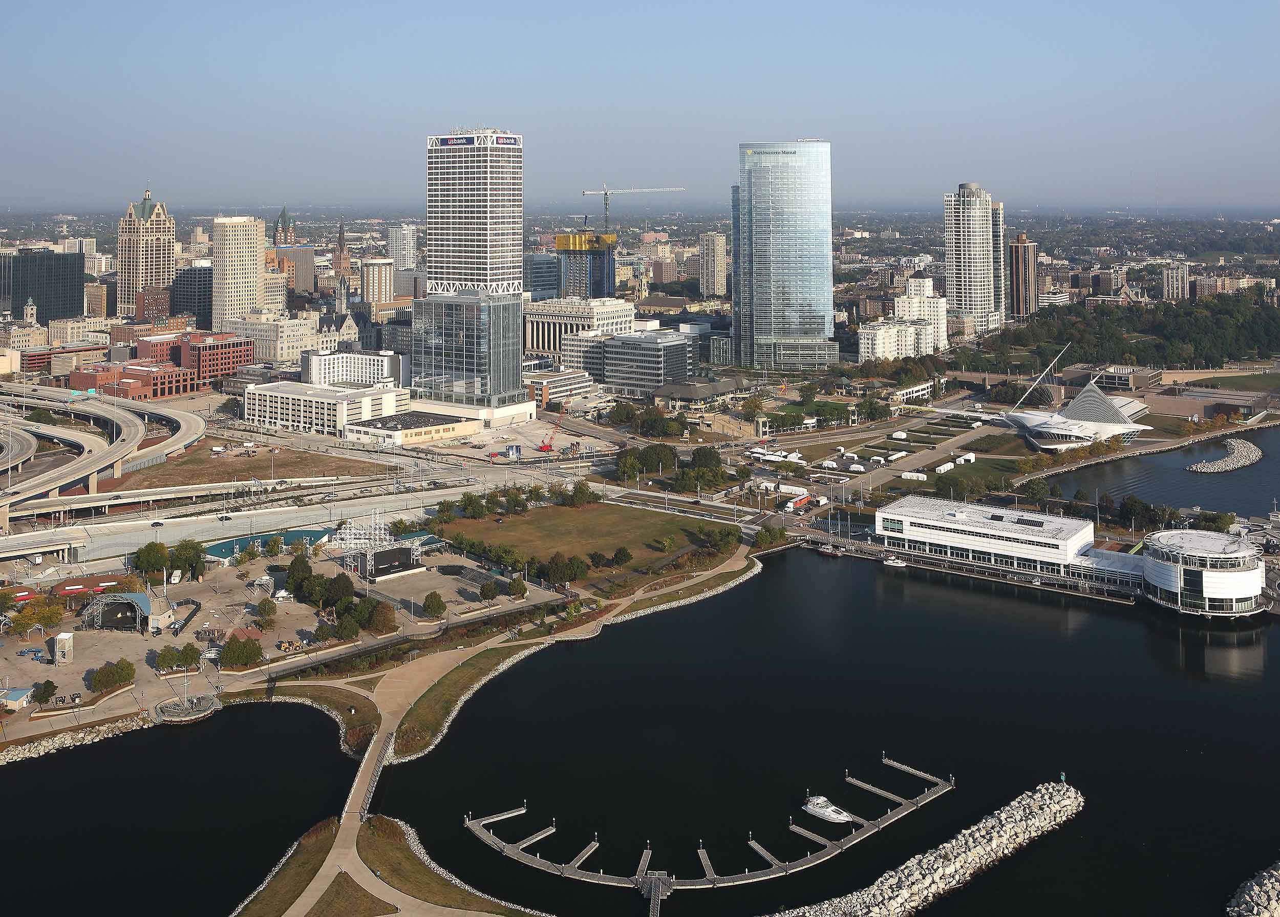 Milwaukee WI, aerial view