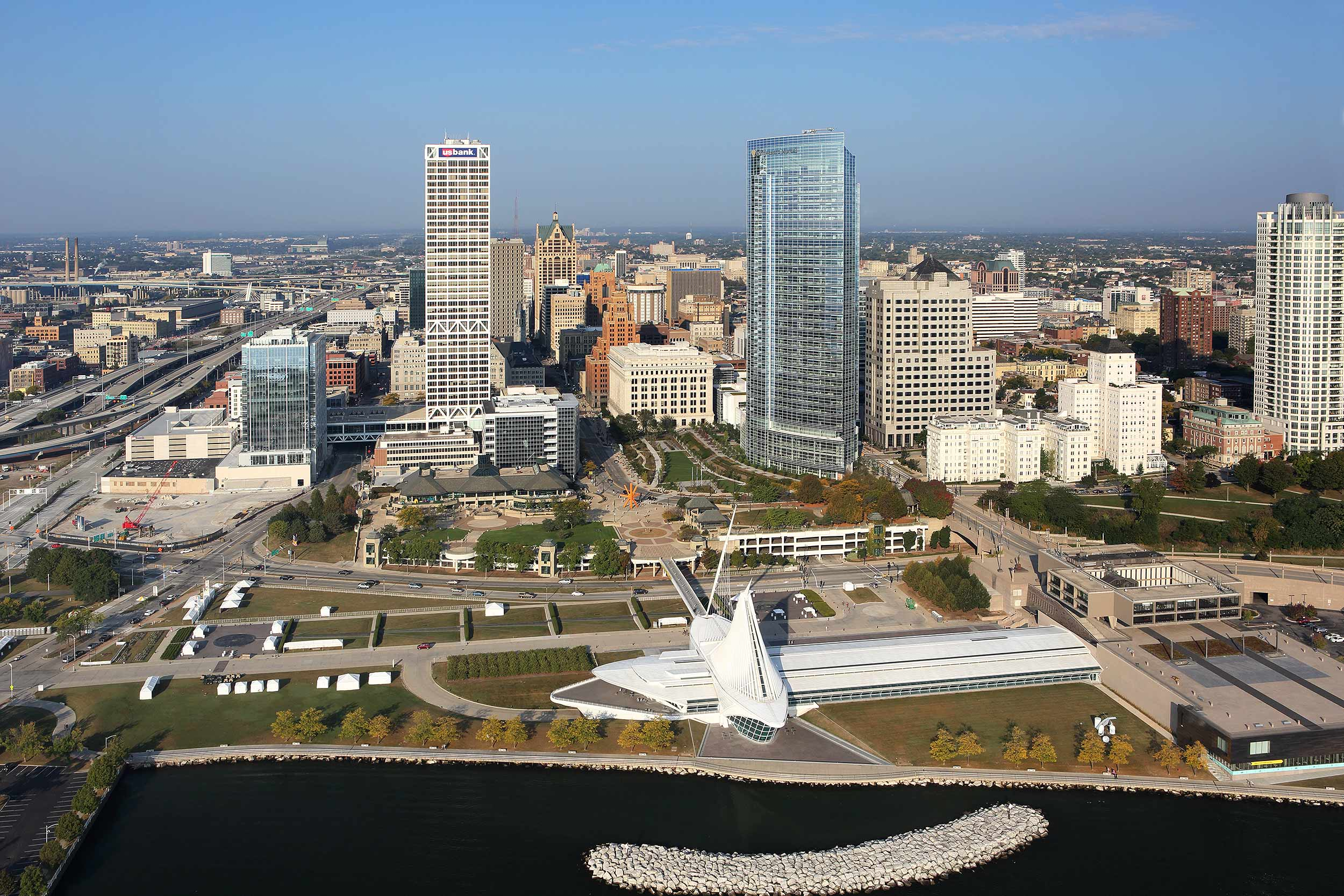 Aerial view of Milwaukee WI
