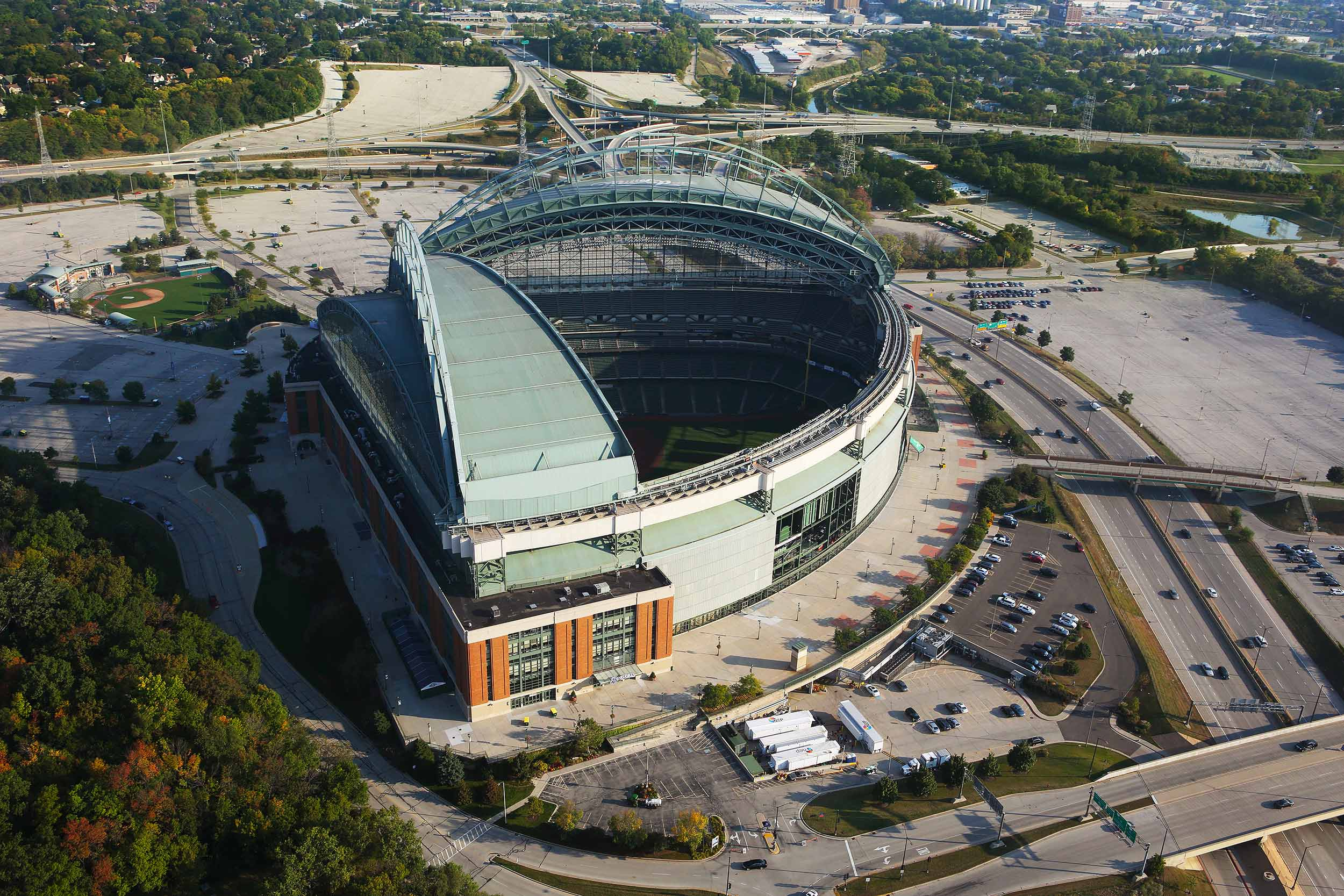 Milwaukee's Miller Park, aerial view