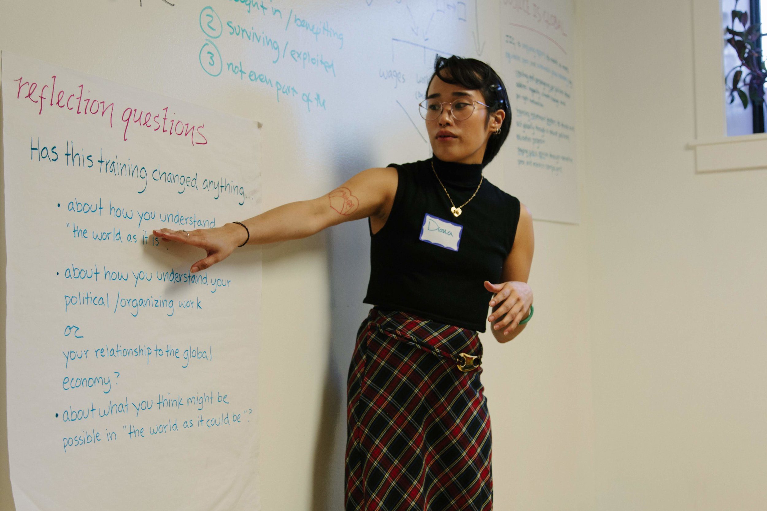 Justice is Global volunteer Diana Truong leads organizers through a reflection exercise at our Globalization 101 training.