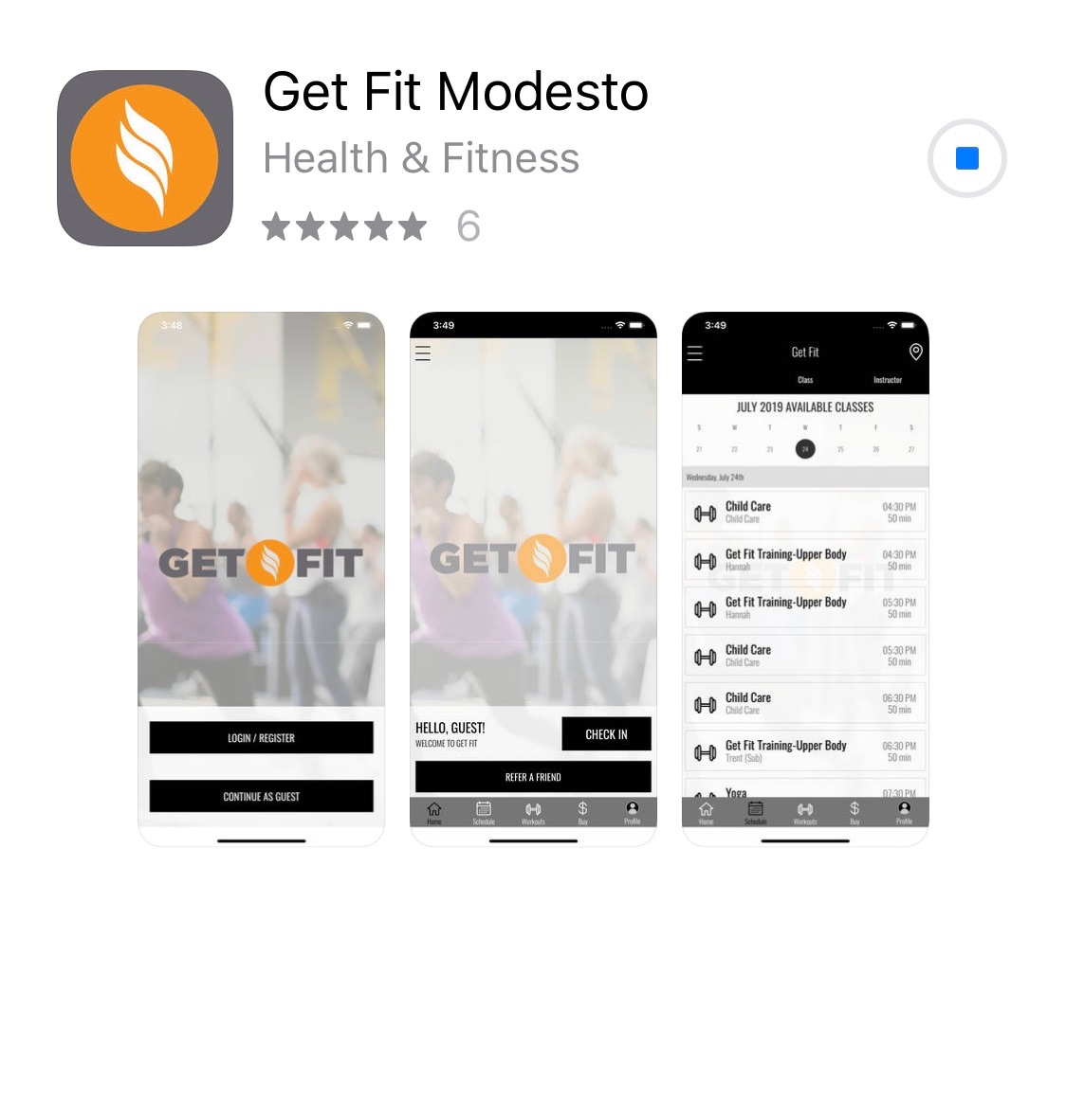 Get Fit Modesto App Design