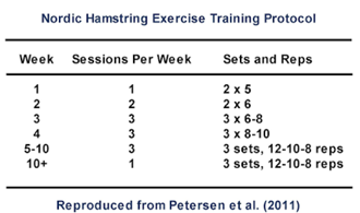 Nordic Hamstring Exercise Training Protocol Table