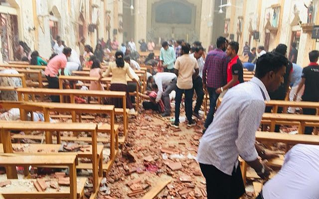 The aftermath of an explosion in St. Sebastian's Church in Negombo, Sri Lanka.