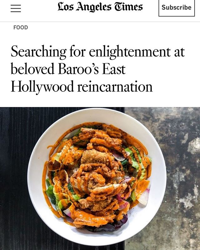 "Thank you @bill_addison @latimesfood for coming to Baroo Canteen (or what we like to call Baroo In Between) and getting our project 🙏🏼 ""Thanks to impermanence, everything is possible. Life itself is possible. If a grain of corn is not impermanent, it can never be transformed into a stalk of corn,"" (Thich Nhat Hanh). The chance timing of this piece, as we honour the anniversary of Jonathan Gold's passing this weekend, is not lost on us. We are grateful to the @latimes for taking the time over the years to understand our quirky Baroo. Thank you for the kind words, and always to the customers who come out to support all our incarnations 🙏🏼♻️😍🌱🌽 Link to Bill's piece is in our bio"