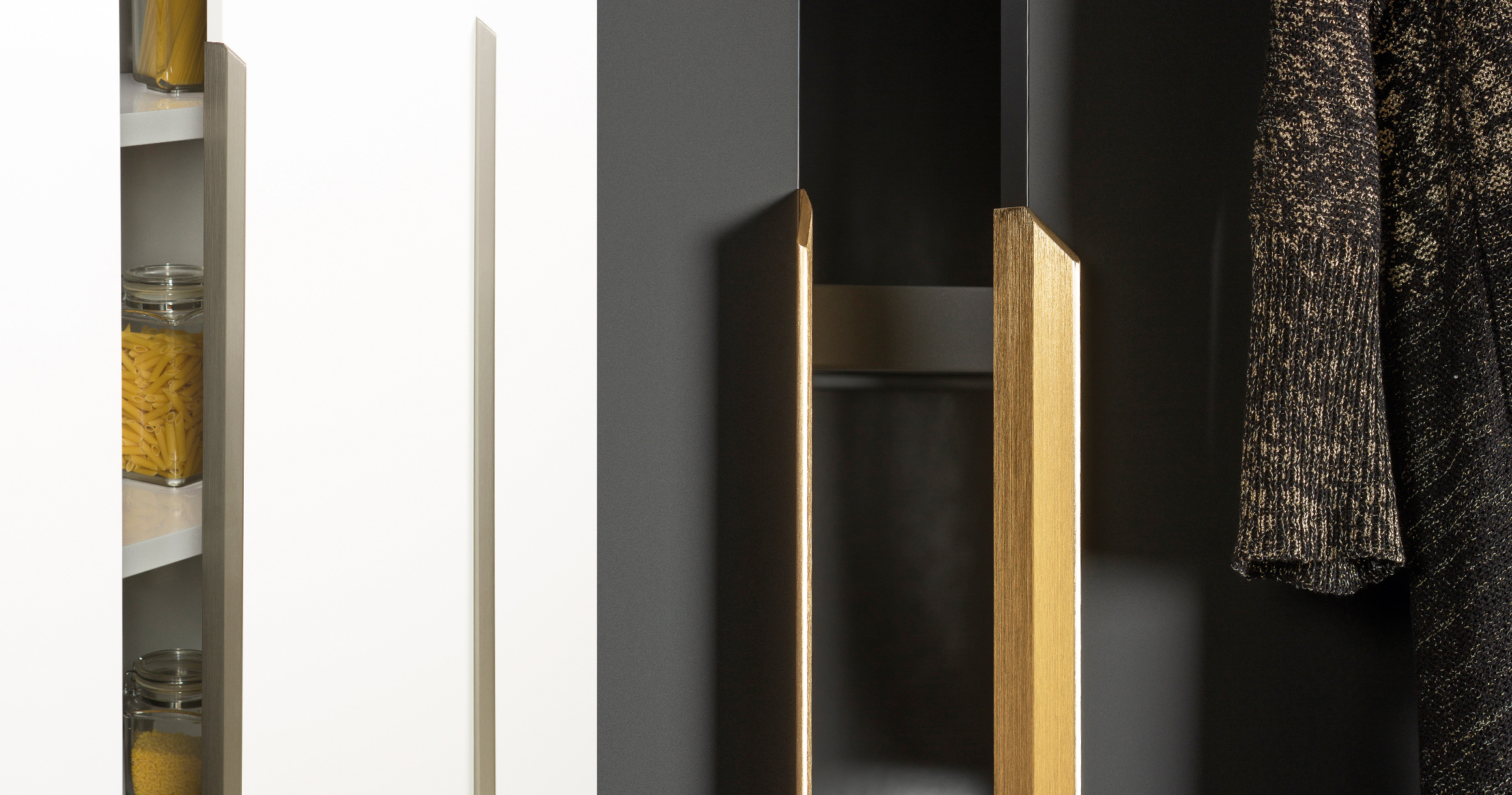Vann 9314 mounted horizontally in brushed stainless steel (left) and dark brass (right). (Photo: Viefe)