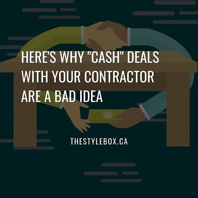 "Have you ever thought of requesting a ""cash"" deal in exchange for a lower price? Here's why that's a bad idea.  A ""cash"" deal is a verbal agreement where a contractor provides their client a lower price in exchange for cash money payment and lack of formal receipts/contract.  You may think you are getting a better price with a ""cash"" deal, but in reality you are incurring greater risk. ""Cash"" deals come at the expense of receiving no written contracts or receipts of transaction, or incomplete contracts that don't describe the full scope of work. Receipts and properly written contracts signed by both parties are required to hold your contractor accountable for incomplete work, poor-quality work, property damage, any possible cost overruns, and more.  Having less leverage and control over your project doesn't sound like much of a deal to us.  Find more articles like this at http://thestylebox.ca  #contractor #homeremodeling #remodeling #renovation #kitchencabinets #kitchendesign #kitchendesigner #kitchenremodel #kitchenrenovation #bathroomremodel #bathroomrenovation #kitchenstories #renovationproject #renovationstories #yqg #windsoressex #windsorontario"
