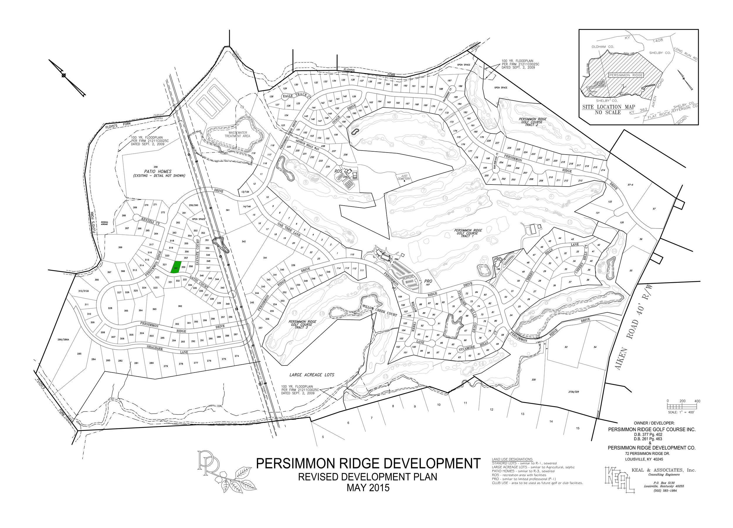 Lot #360 indicated in green on plat map.   View Dimensions.