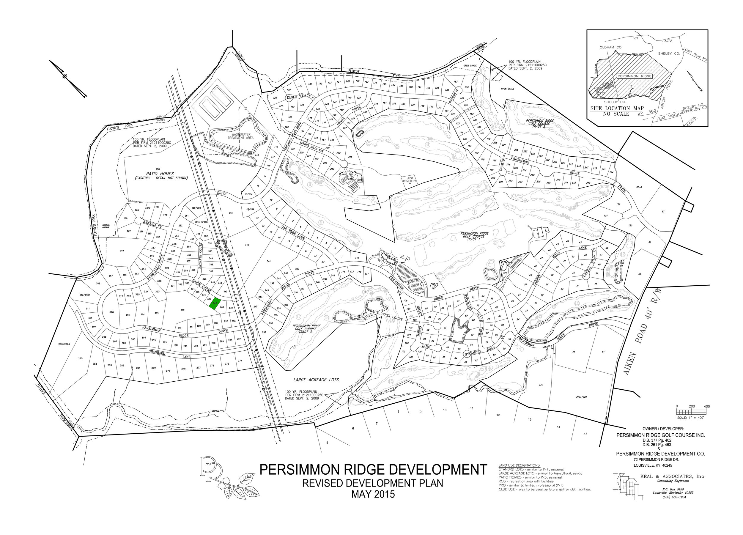 Lot #338 indicated on master development plan.   View dimensions.