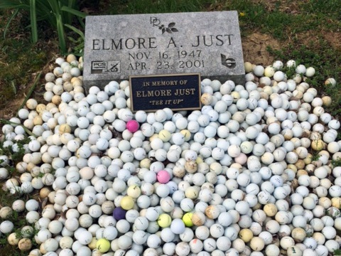 Members honor Elmore Just by placing their ball on his gravesite, adjacent to hole #7, when they make a birdie.