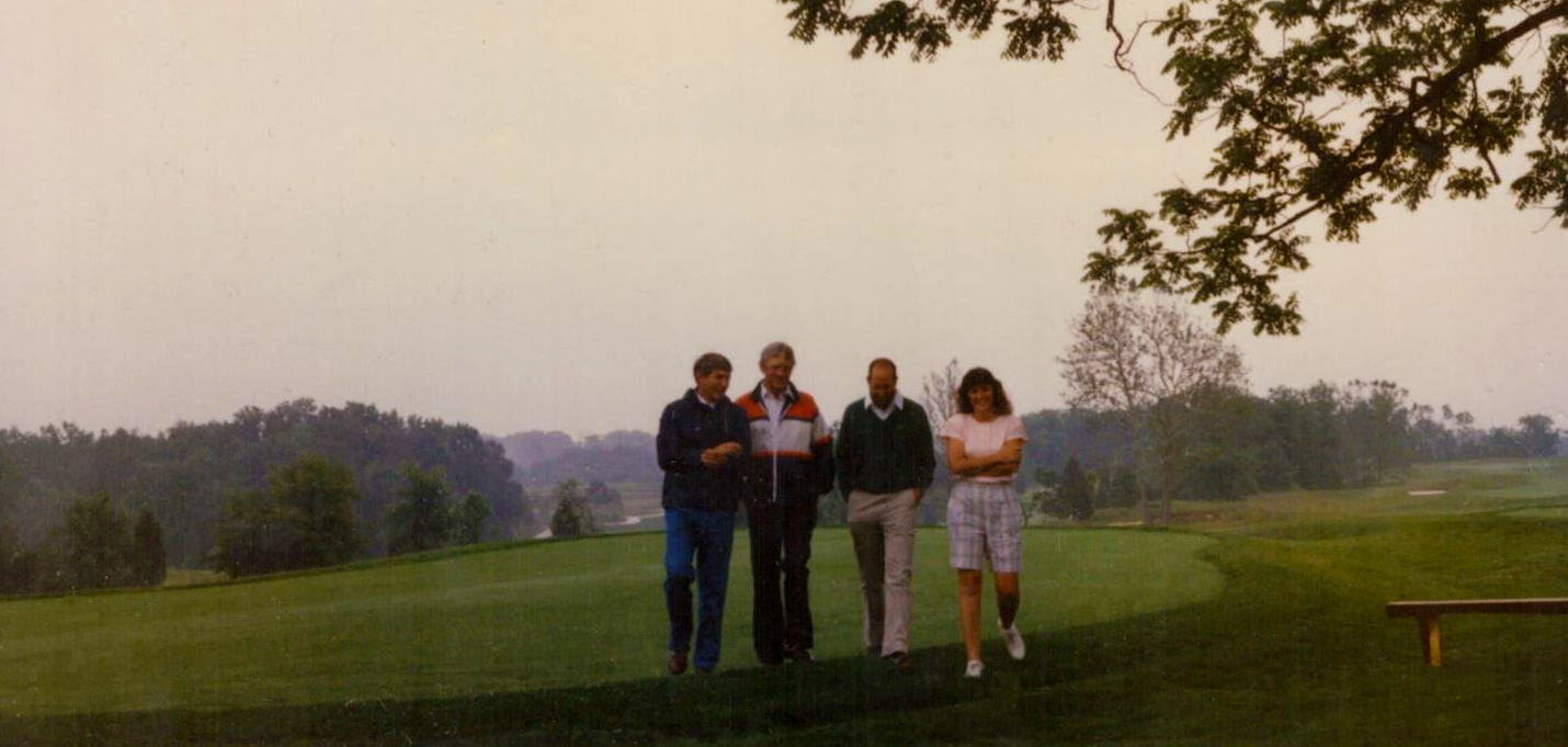 (L to R) Arthur Hills, Elmore Just, Jack Ridge, and Lawren Just begin the adventure to develop a first class golf course—surrounded by a residential development unlike any other—despite many challenges.