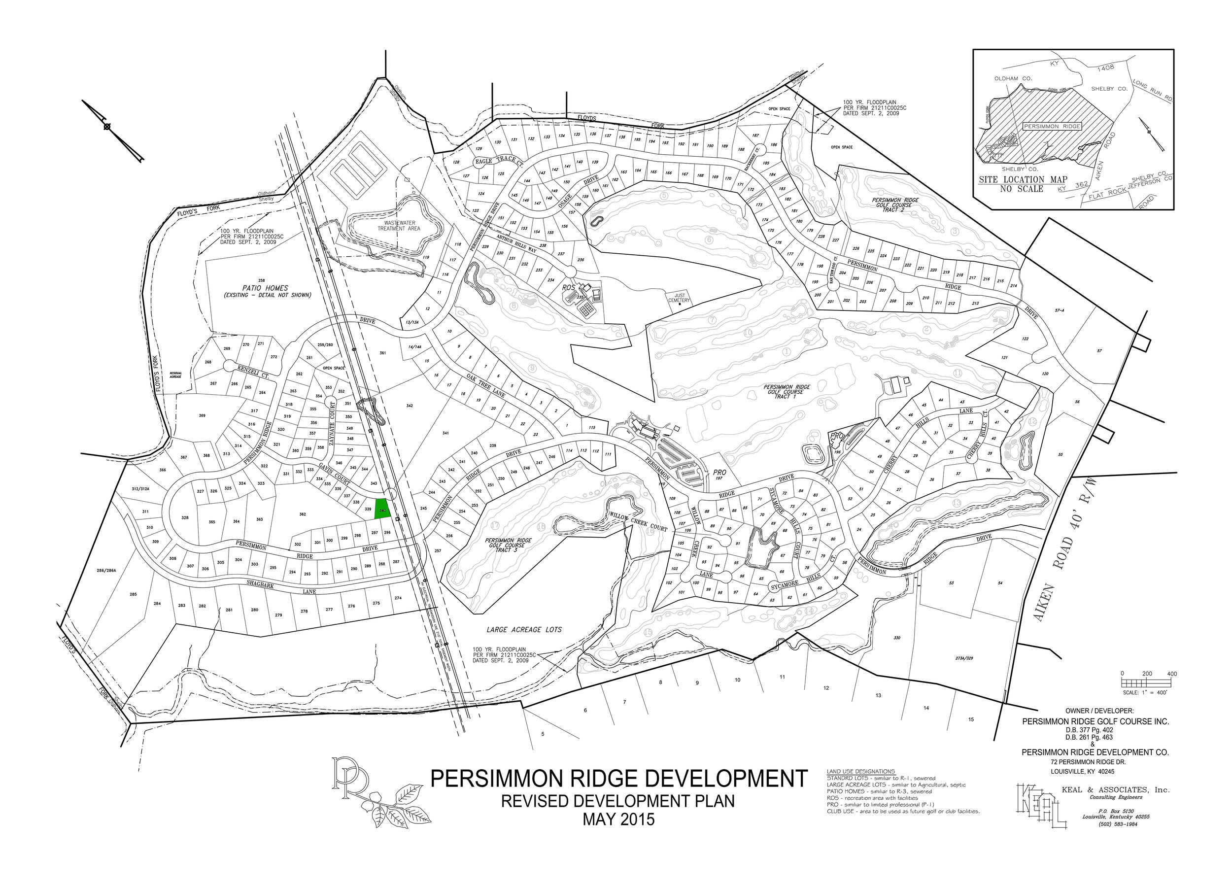 Lot #340 indicated in green on plat map.   View Dimensions.