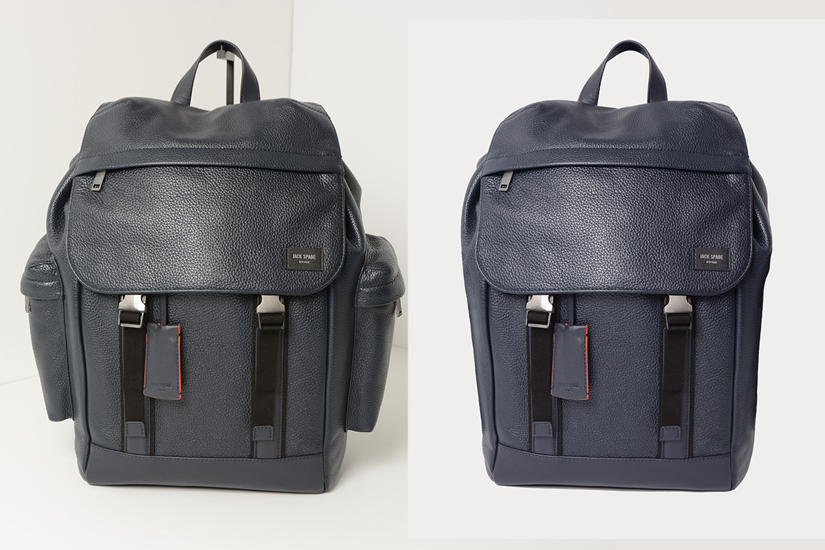 before & after:  removed side pockets from bag and color corrected