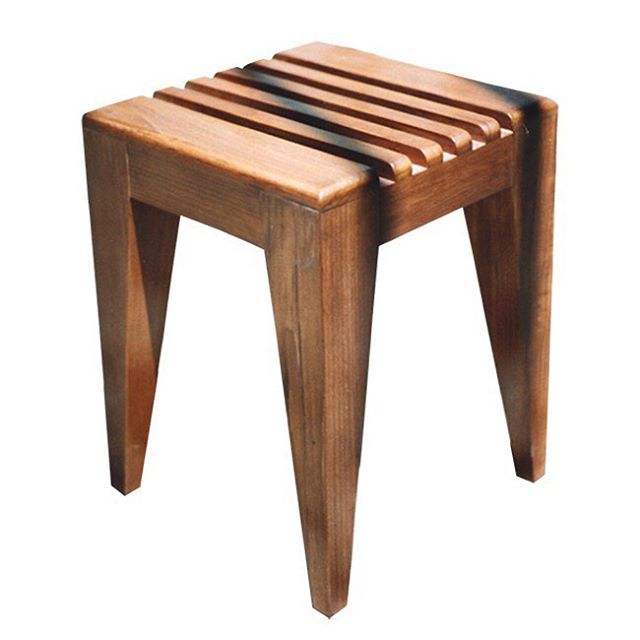 We designed this teak stool and matching bench for a pool house changing room in Northern California  #customfurniture #californiahomes #furnituredesign #customdesign #architecture #totaldesign