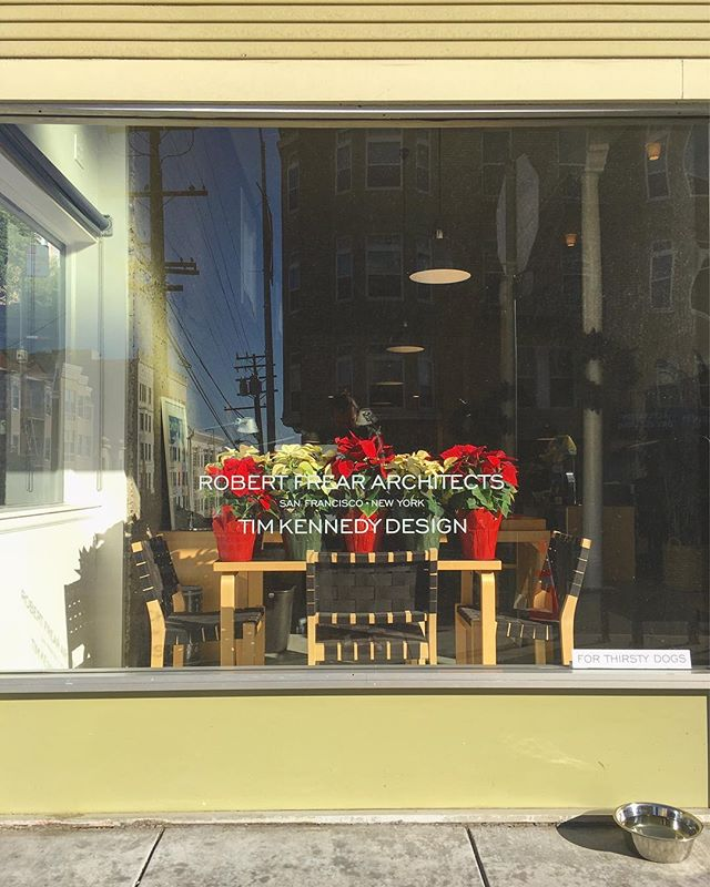 Happy holidays from Robert Frear Architects and Tim Kennedy Design! We just put our poinsettias from @sfflowermart on top of our @artekglobal Aalto table 🥰 #sanfrancisco #holidaydecor #polkstreet #aaltotable #pointsettia #storefront #architecturefirm #interiordesign #floral #happyholidays