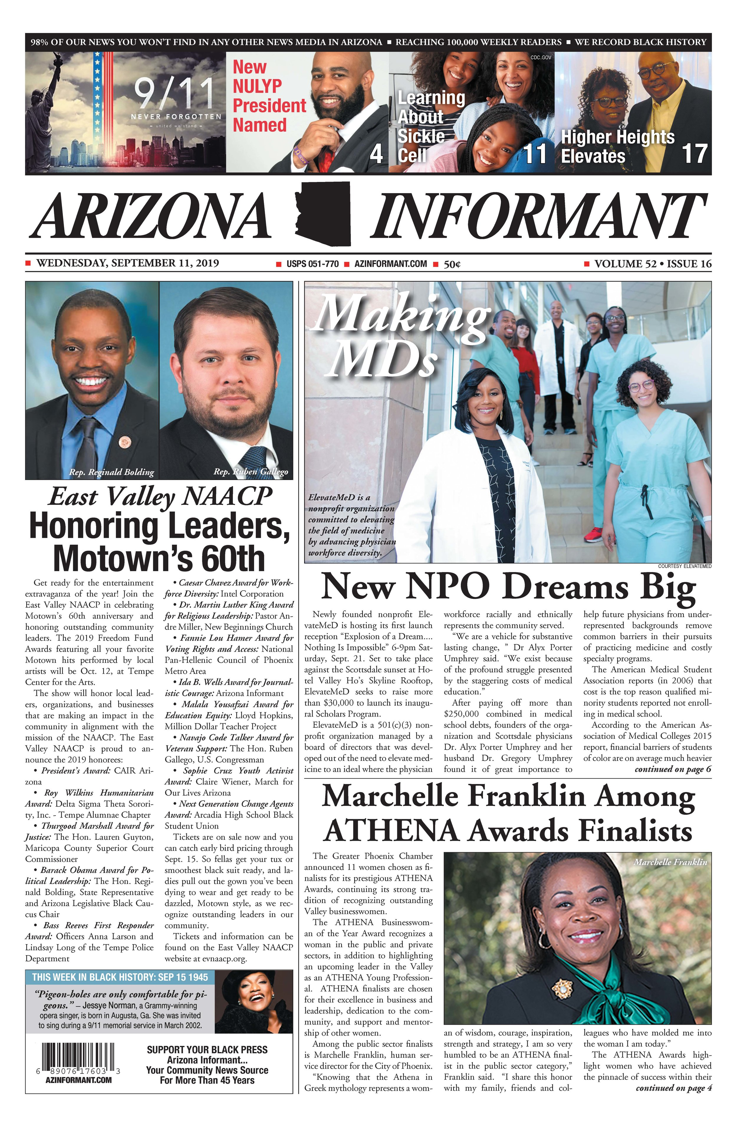 Arizona Informant Front Page - Making MDs [9/11/2019]