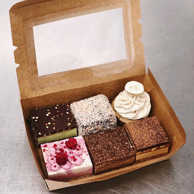 Specialty boxes for sale today! I'll post a story at 9am for you guys to secure a box and I've only got 13 so they will sell out quick! All Raw/V/rsf/gf and they are.. Peppermint crunch Lamington Banoffee tart Berries and cream  Coconut rough  Snickers 👅
