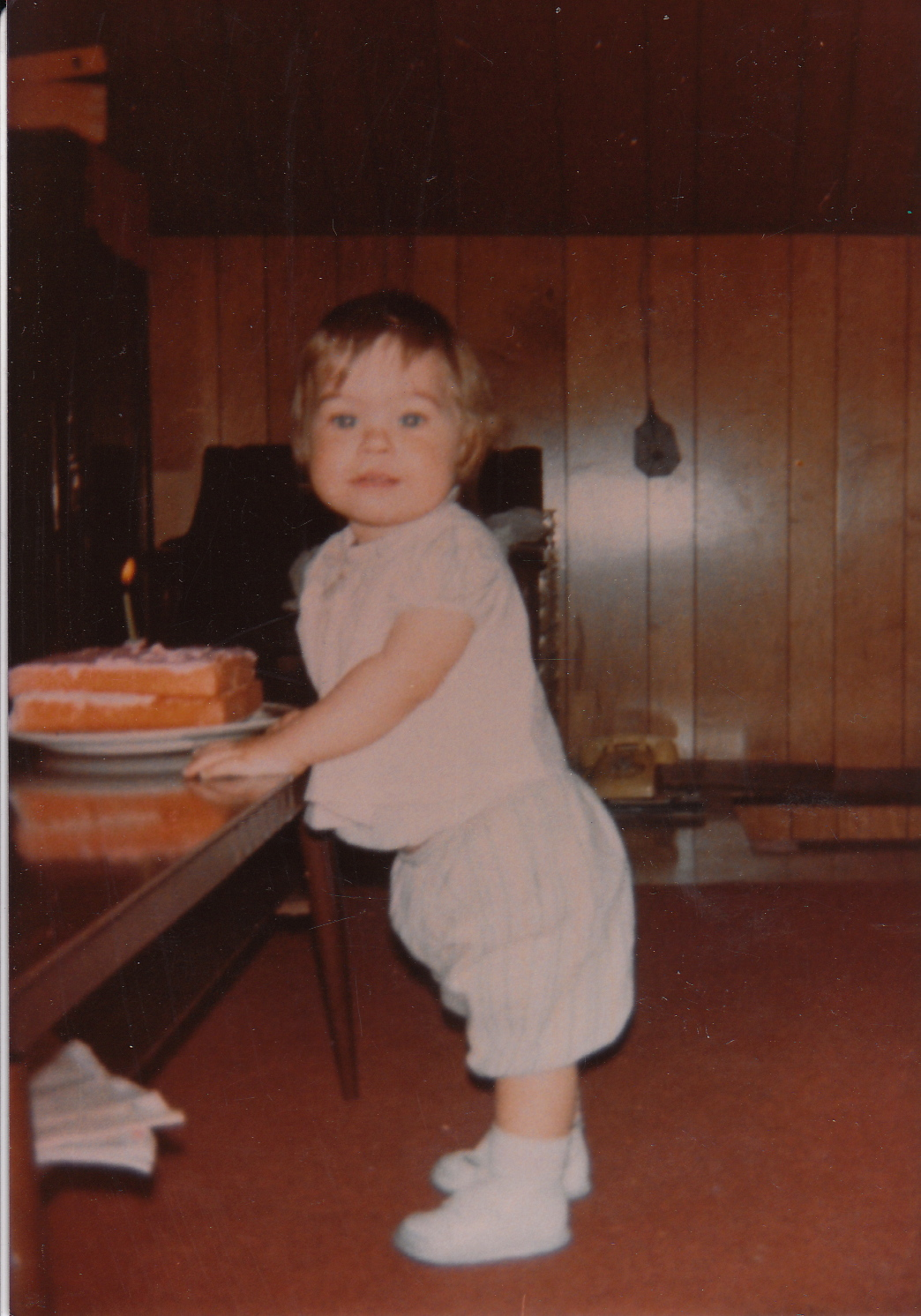 1st cake, 1970. Dig the fly swatter as wall art.