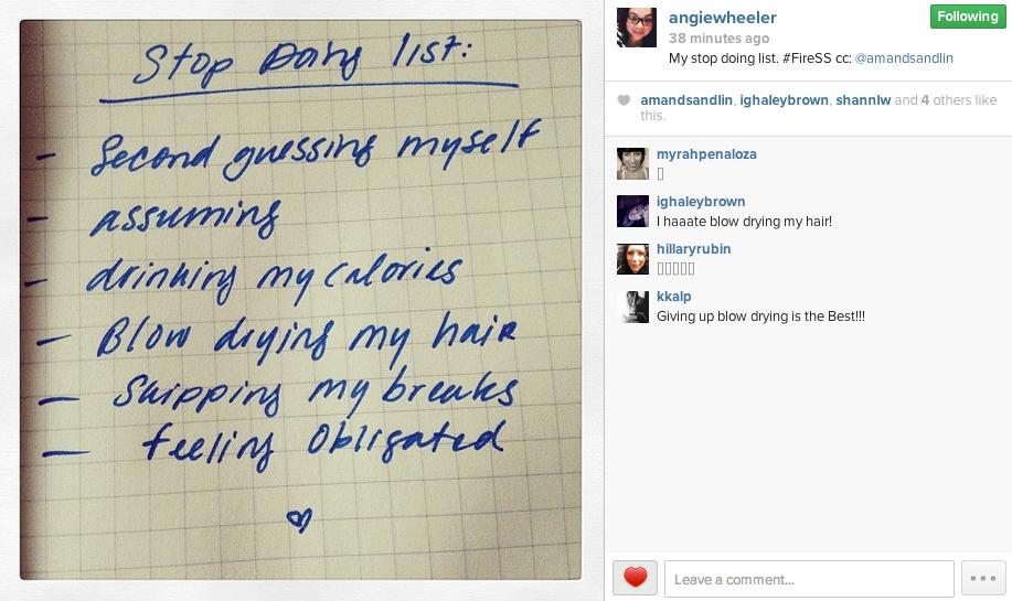 stop doing list IG