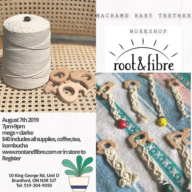 For all my macrame mamas ! Join me August 7th @megsandclarke for a beginner level workshop ✨ macrame baby teethers for your little loved ones. Www.rootandfibre.com to register.