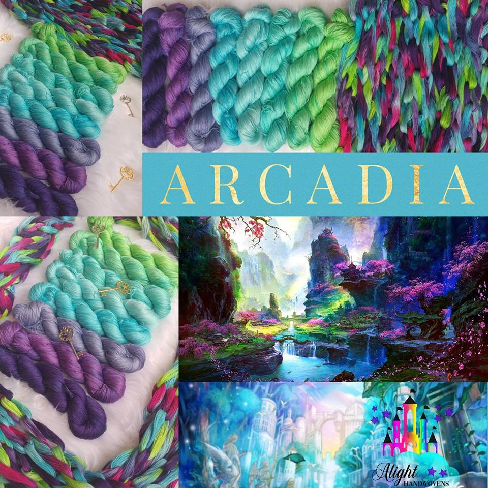 ARCADIA  Photo ID: A collage of photos including fabric lined from purples blues to greens with a mixture of chained fabric