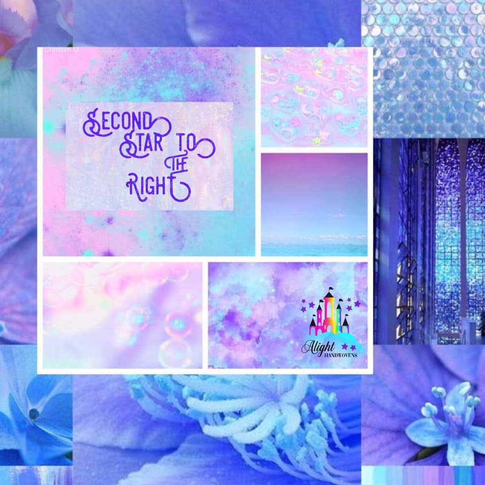 "Photo I'd: a collage of pastel photos of blues and purples and shimmery scales. The words "" second star to the eighth"" are written in purple and the Alight Handwovens watermark is on the right"