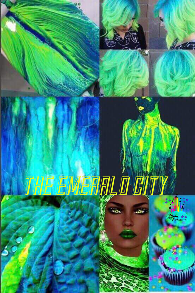 "Photo ID: a collage of photos with electric blues and greens with leafs woman hair and cupcakes. The words ""The Emerald City are written in yellow in the center with the alight castle watermark on the far right."