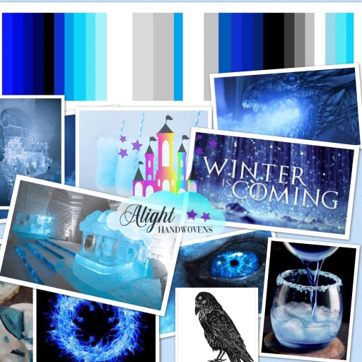 "Photo ID: a collage of photos with different shades of blue, white and black. The words ""winter is coming is written in white and the Alight Handwovens watermark is in the middle"