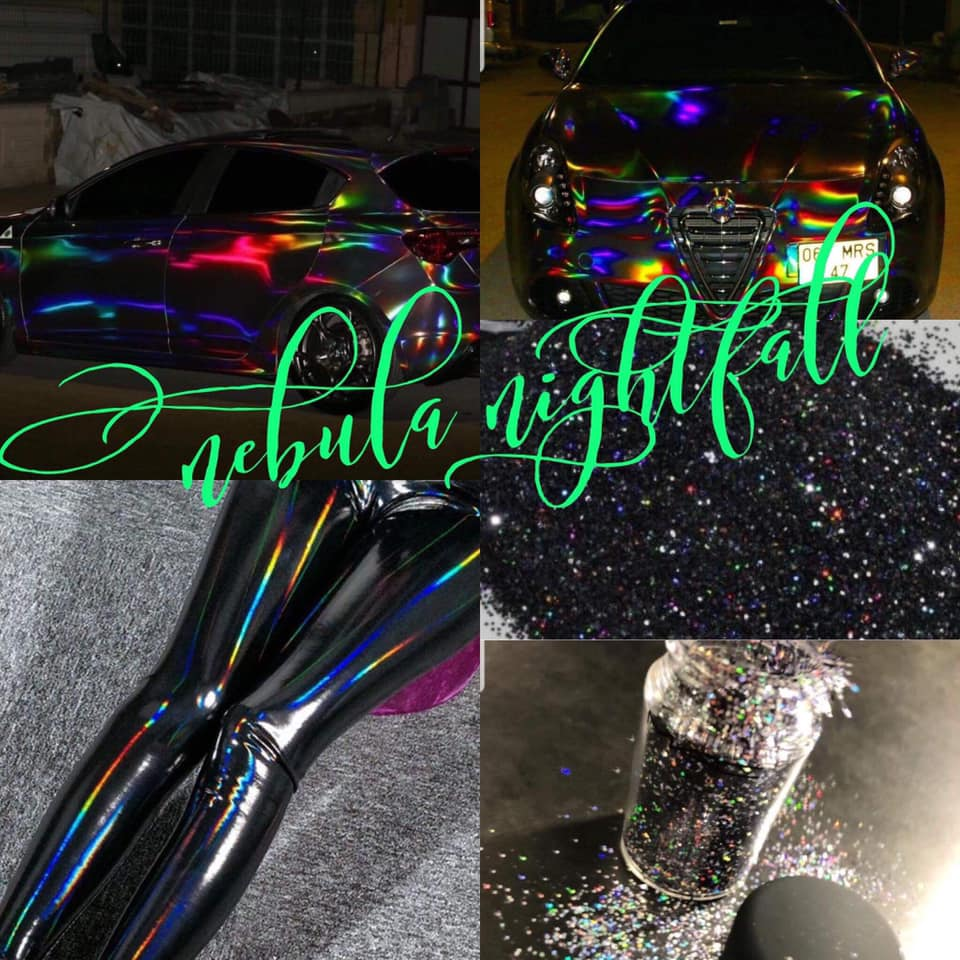 "Photo ID: a collage of five photos with cars and glitter with mostly shiny black with faint rainbows. The words ""nebula nightfall are written in green across the photo"