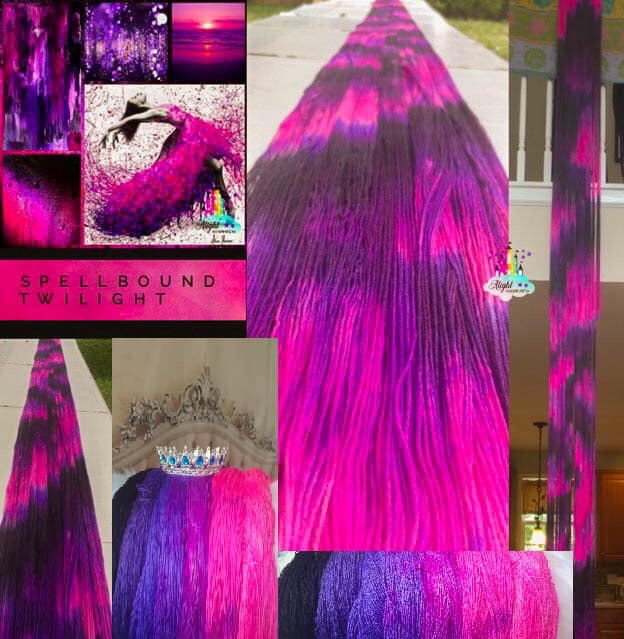 Photo ID: a collage of photos of beautiful pinks purples and black. Most photos show painted fabric while one shows a woman with a pink painted dress. There is an Alight castle watermark in the top right corner.