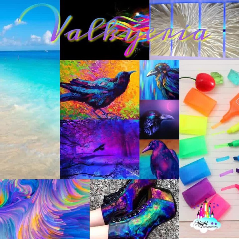 Photo ID: collage of pictures in a variety of colors. Depicted are a beach, a Raven, a white underwater plant, a set of neon colored highlighters, a pair of boots colored in an oil slick pattern and an abstract color pattern in purples, blues, orange and green.