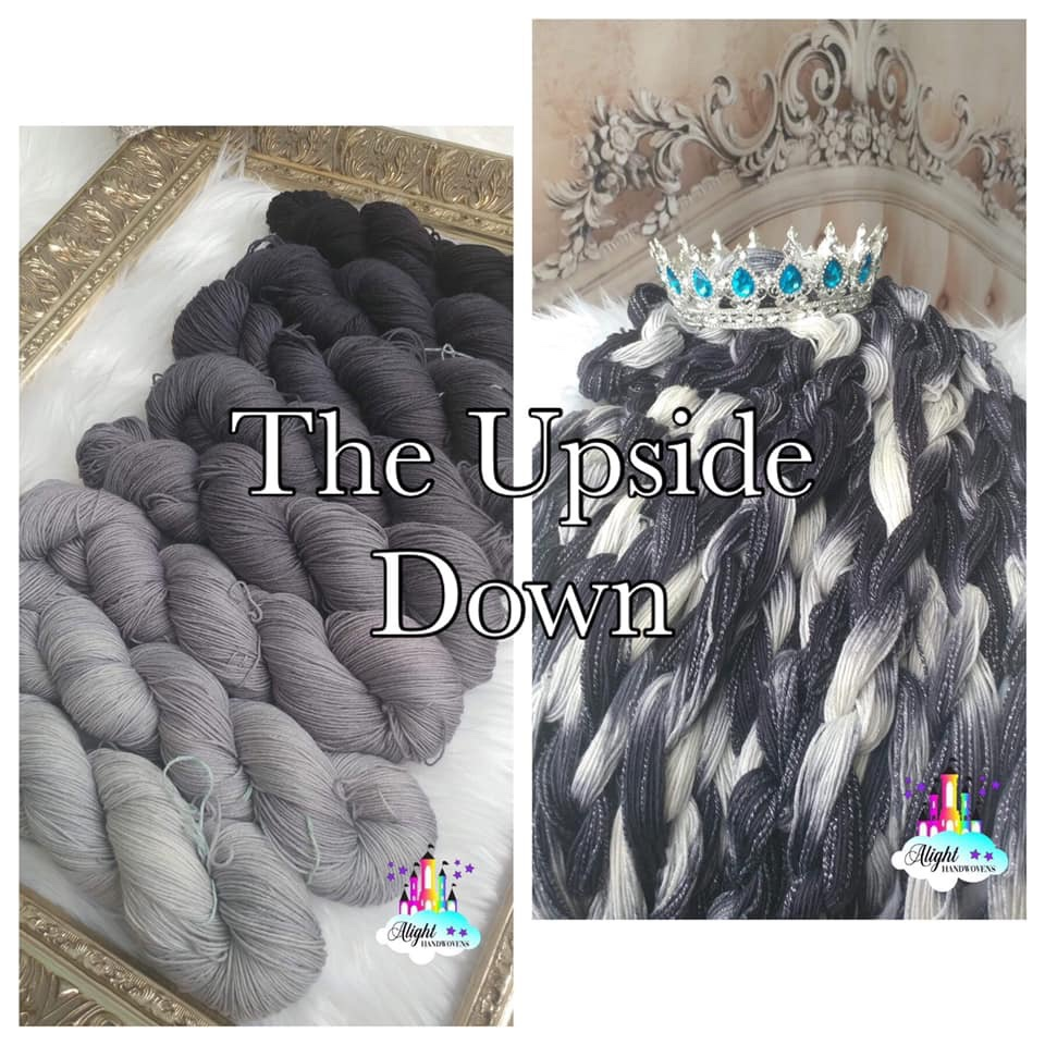 "photo ID: Two photos of black/white/grey yarn in various shades. One set is displayed in a golden frame on top top white faux fur and one set is displayed in chains with a blue jeweled crown on top of it with chained yarn hanging down. The words: ""The Upside Down"" are written across the photo collage in black and white letters."