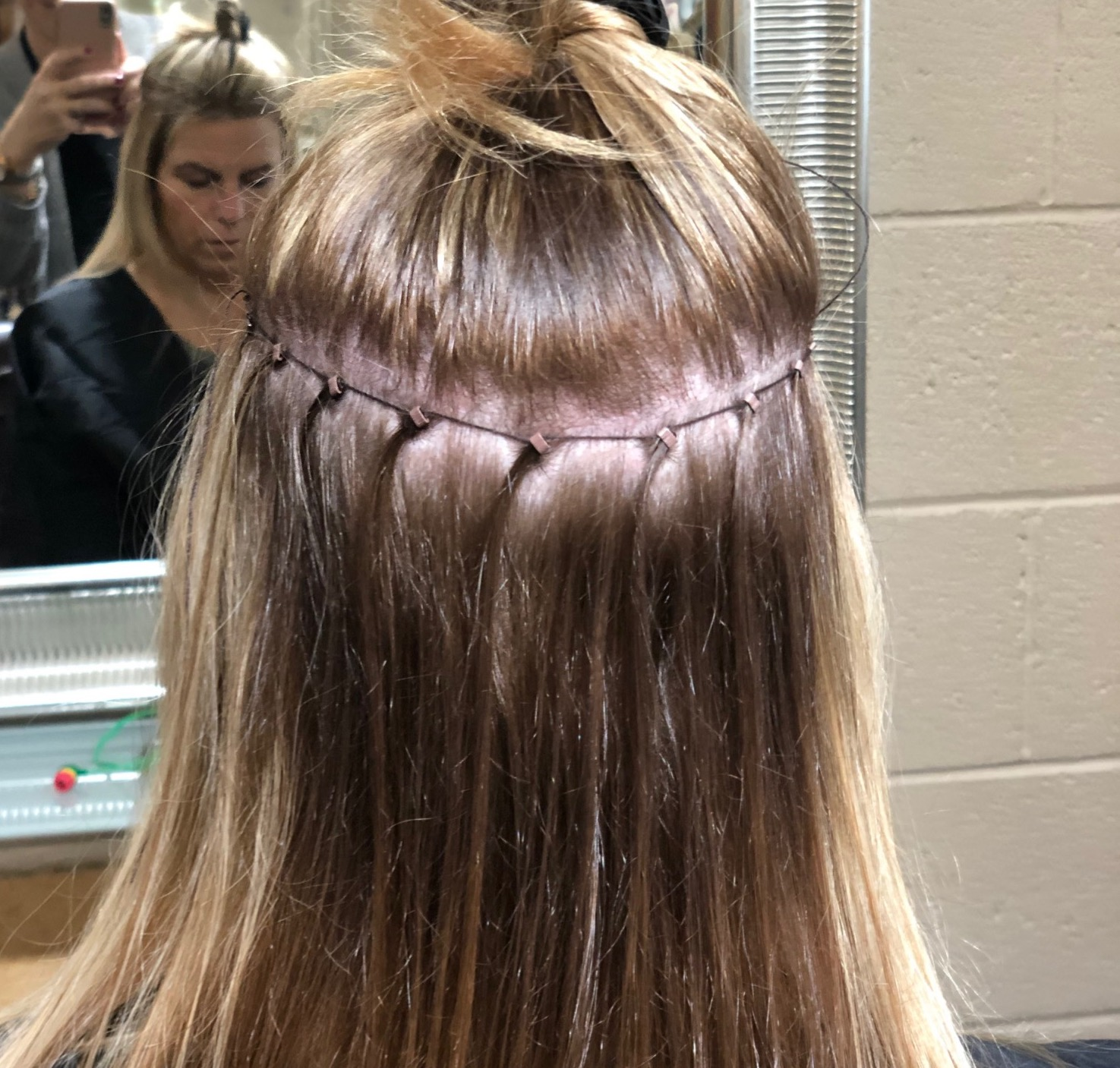 """EXAMPLE OF NBR APPLICATION   18"""" $1200-$1500+  22"""" $1600-$1800 +  application includes cut, custom extension blending color, extension application and blow-dry style."""