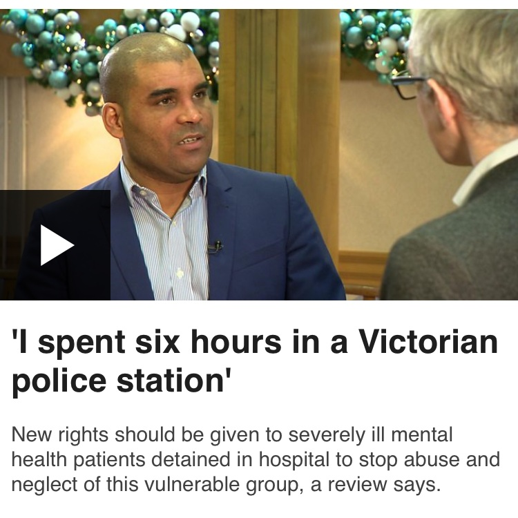 Interview with BBC at the launch of the Mental Health Act Review - Steve gave an interview describing his experiences of the Mental Health Act review, including how he ended up spending 6 hours in a Victorian police cell.