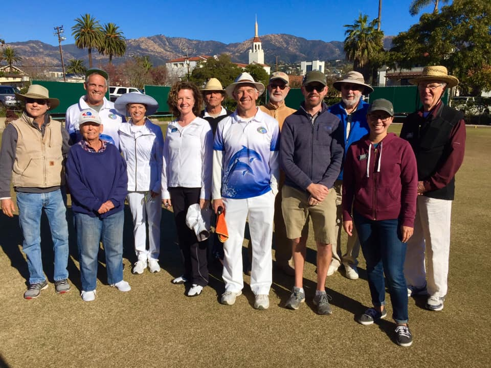 Members — and new friends — from the Laguna Beach Lawn Bowls Club join some club games with our members while in Santa Barbara for vacation