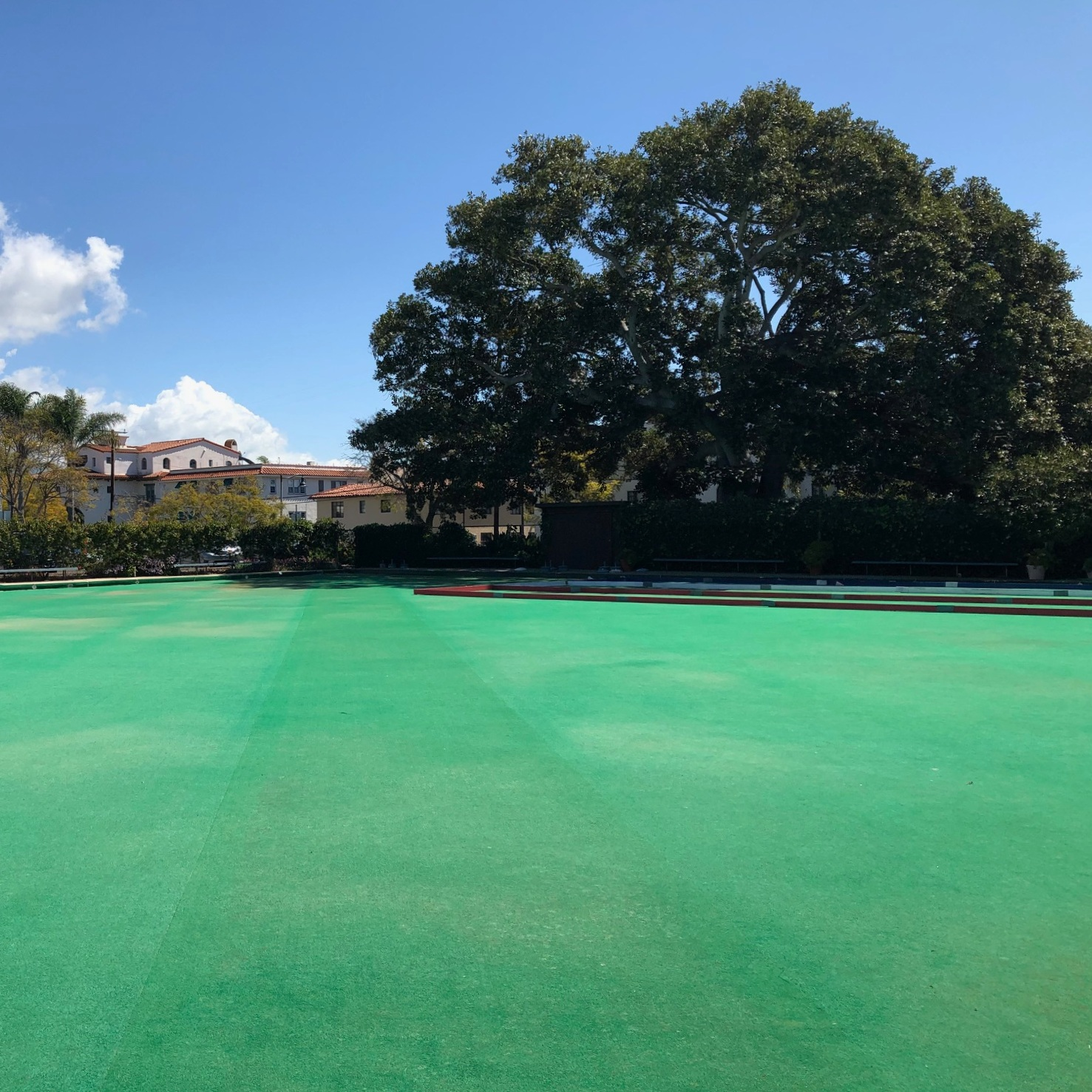 Stan Palmer Green - Santa Barbara Lawn Bowls Club also features an artificial turf bowling green, which allows us to bowl even in soggy conditions. This green was named for Stan Palmer in 2003, whose generous donation made this green possible. It also features removable bocce courts, which serve the local Special Olympics bocce team.