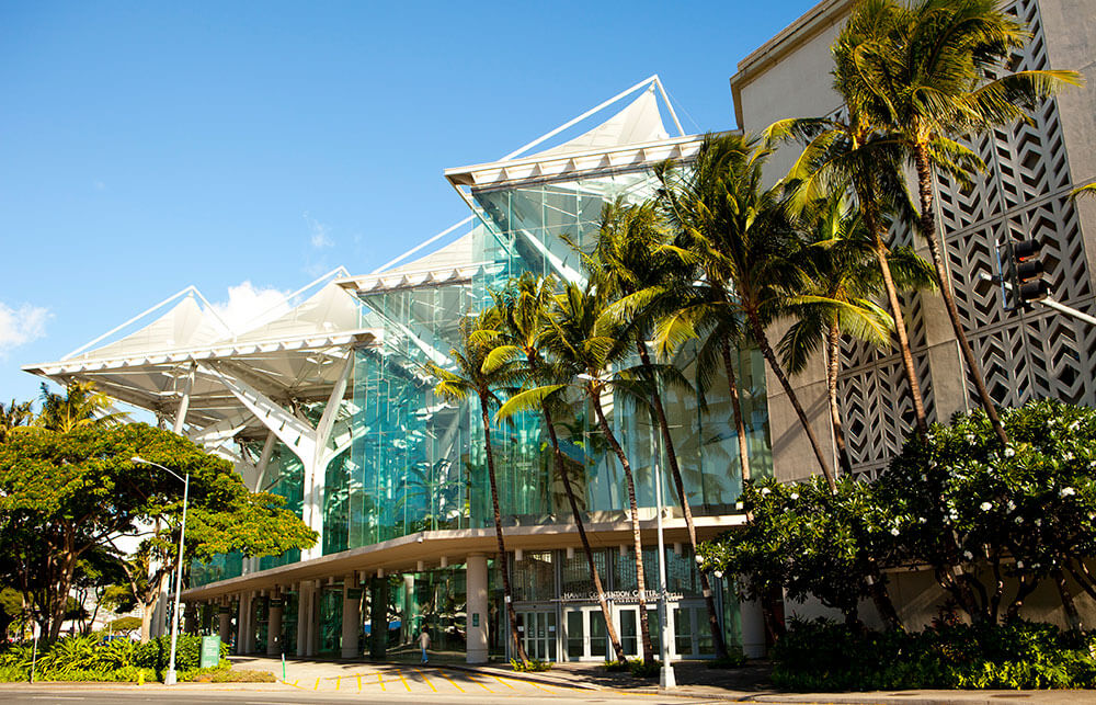 """The Hawai'i Convention Center on O'ahu is the first and only """"public assembly convention center"""" to earn Leadership in Energy and Environmental Design (LEED) v4 Gold Certification from the U.S. Green Building Council.  (Dana Edmunds/Hawaii Tourism Authority)"""