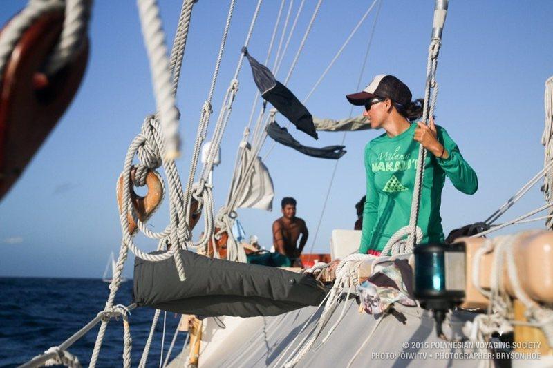 Jenna Ishii aboard  Hōkūleʻa .   BRYSON HOE