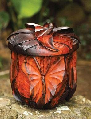 """Artist Scott Hare's """"Hawaiian Hearts"""" carved milo calabash is available through Legacy Forest Gifts for the planting of 330 Koa Legacy Trees."""