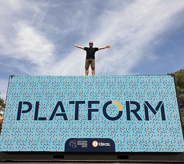 Our crazy Project Officer @apbannister still riding the #platformriverina high from yesterday's launch. . . . . . . #creativeriverina #easternriverinaarts #ideasaus #artlaunch #shippingcontainerart #riverinaevents #waggawagga #waggabeach #platformriverina #creativeartspace #accessiblearts