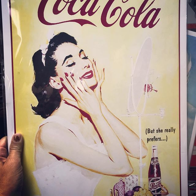 You guys. We're counting down to the next auction launch in just a few days and I don't know what to do with this!!! #Coke?!? #Pepsi?!?! #Snacksandmakeup?!?!? #colacoldwar #marketing genius #lookingglassmarketplace #midtowncda #coeurdalene #midcenturymodern #vintage #retro #antique #cda #idaho #Id #spokane #postfalls #hayden