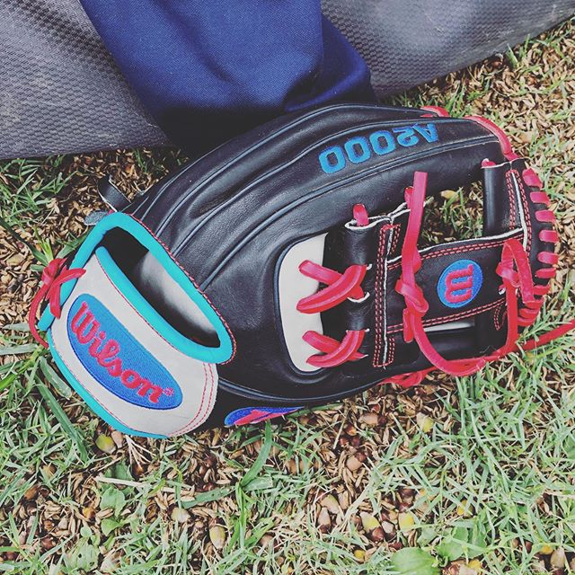 Big A's custom A2000 @wilsonballglove He's still breaking it in but I love that he designed it. ❤️⚾️❤️⚾️❤️⚾️#baseballislife #peanutsnballparks #playball