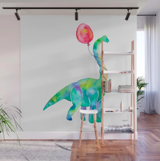 "Part of the ""dinosaur & balloon"" series done in collaboration with Society6. Watercolour, digitised, and printed as a wall mural."