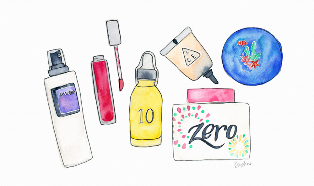 Mixed media illustration with watercolour and ink. Featuring Korean skincare and makeup products.