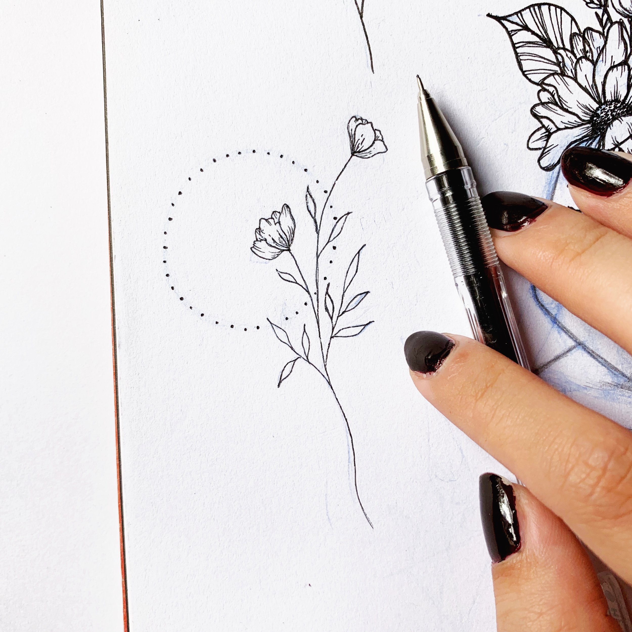 Minimalistic floral design, later adapted for a tattoo design.